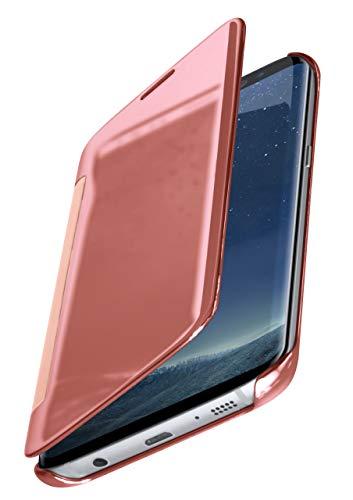 moex Dünne 360° Handyhülle passend für Samsung Galaxy S8 | Transparent bei eingeschaltetem Display - in Hochglanz Klavierlack Optik, Rose-Gold
