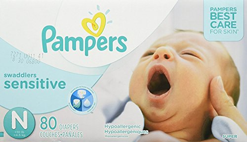 Diapers Newborn/Size 0 ( 10 lb), 80 Count - Pampers Swaddlers Sensitive Disposable Baby Diapers, Super Pack