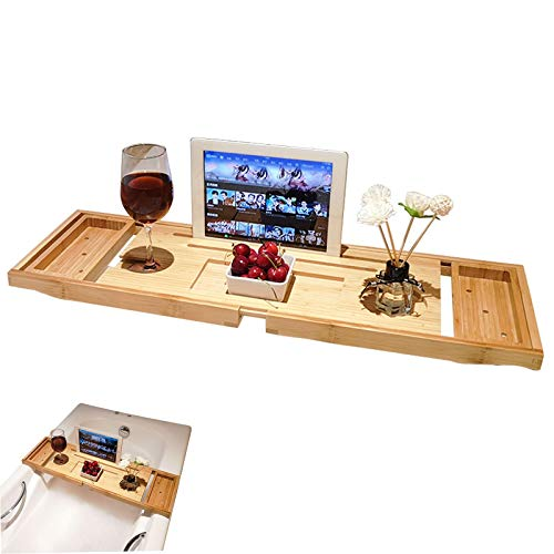 PPGE Home Bathtub Tray Extendable Bamboo Wood Bathtub Bridge with Wine Glass Holder Tablet Stand Free Installation Luxury Baths Gift, (70~105)*22cm*3 cm