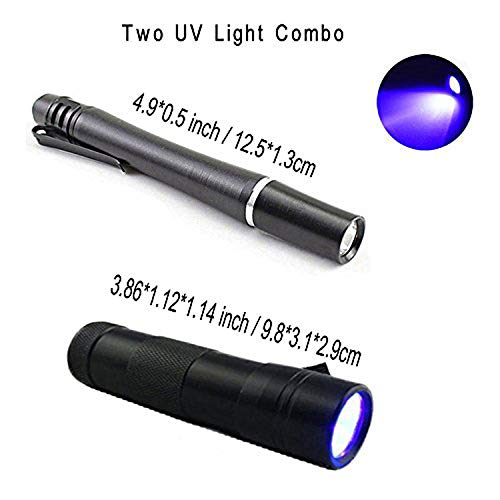 Aventik Two Power Light, One 12 LED Fishing Light + one 395nm Wavelength Fishing Pen Light Fly Tying for Bodies and Wings