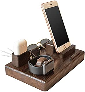 Wood Phone Docking Station Ash Magnets Organizer Men Gift Husband Charging Pad Slim Birthday Nightstand Boyfriend Compatible with iPhone AirPods Apple Watch