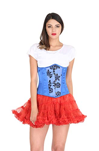 Tejido de satn azul que rene el cors gtico Burlesque disfraz de Halloween Underbust
