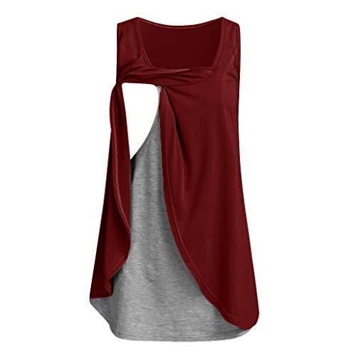 pitashe_Stillshirt Damen Nursing Shirt Maternity Nursing Top Double Layer Wild Solid Colour Sleeveless Vest Top wein-a0719 s