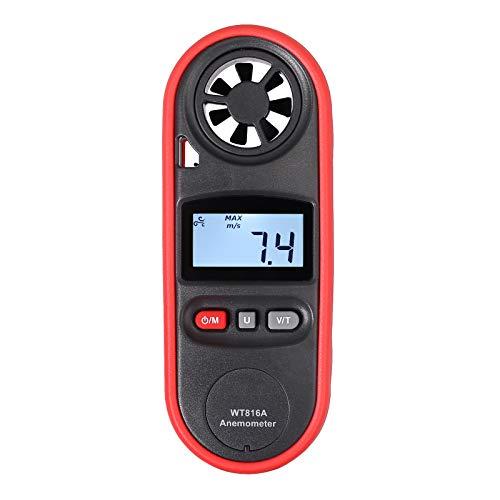 ESYNiC LCD Anemometro Digitale con Retroilluminazione Misuratore Velocità 6 Unità e Temperatura C F NTC del Vento Tester Vento Handheld per Pesca Navigazione Rilevamento Meteo Surf Sailing Scarico