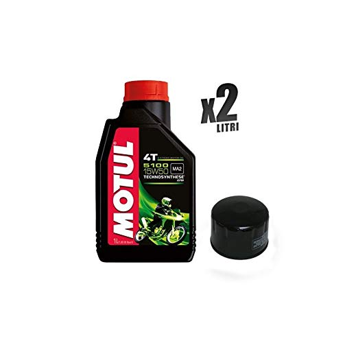 Motorcycle set 2 liter motorolie Motul 5100 15W50 + filter 184