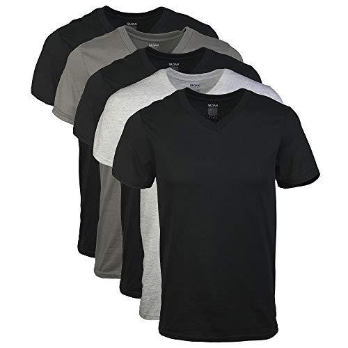 Gildan – Herren-T-Shirts mit V-Ausschnitt, verschiedene Farben, Multipack, X-Groß