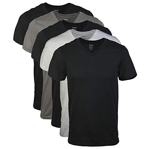Gildan Men's V-Neck T-Shirts 5 Pack, Multi, Medium