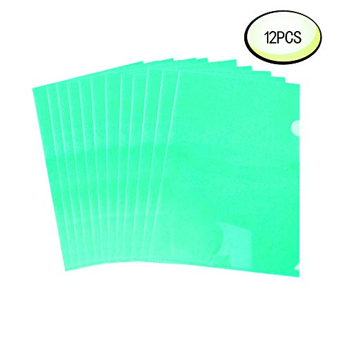 L-Type Plastic Folder Wiekyze Safe Project Pockets Transparent Clear Document Folder 12pcs for A4 paperPlastic Paper Jacket Sleeves in Assorted Project Folders Green
