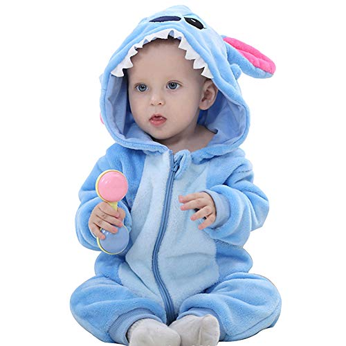 ANUFER Unisexo Bebé Encapuchada Mameluco Franela Linda Animal Mono Pijama 0-36 Meses Tiburón SN07652 12-18 Meses