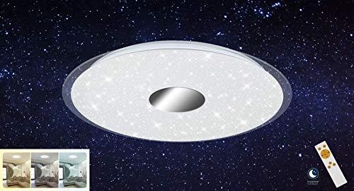Briloner Leuchten LED Deckenleuchte, Deckenlampe, Dimmbar, Farbtoneinstellung, Timer- und Nachtlichtfunktion, Kunststoff, 24 W, Weiß/Chrom, Ø 46 cm