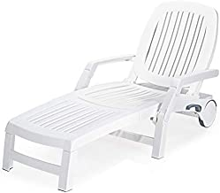Giantex Chaise Lounge Outdoor 6 Adjustable Backrests Lounge Chair Recliner with Wheels for Patio, Poolside, Garden Foldable Beach Sunbathing Lounger(1, White)
