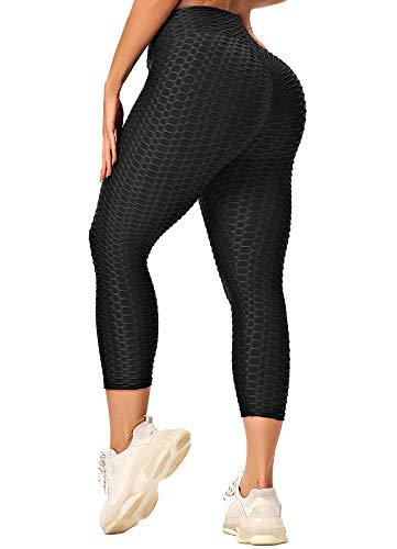 INSTINNCT Damen Capris Slim Fit Hohe Taille Lange 3/4 Leggings mit Bauchkontrolle Fitnesshose Sporthose Schwarz Small