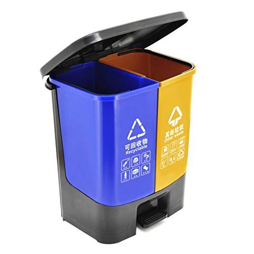 Pequeño Cubo de baño Doble Papelera de reciclaje compartimiento doble bote de basura Oficina / exterior Jardín de la basura de plástico puede, de 30 litros / 7.9 galones Cubo de Basura