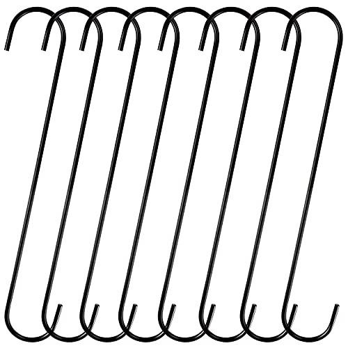 DINGEE 12 inch 8 Pack Extra Large S Hooks Heavy Duty Long S Hooks for Hanging Plant,S Hooks for Tree Branch,Bird Feeder,Pots and Pans Closet Garden Pergola Indoor Outdoor X-Large Hooks