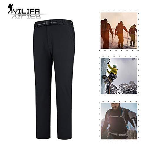 YiLife Softshell-windproof voor heren, outdoor, waterdichte warme broeken voor skiën, trekking en reizen, bergbeklimmen