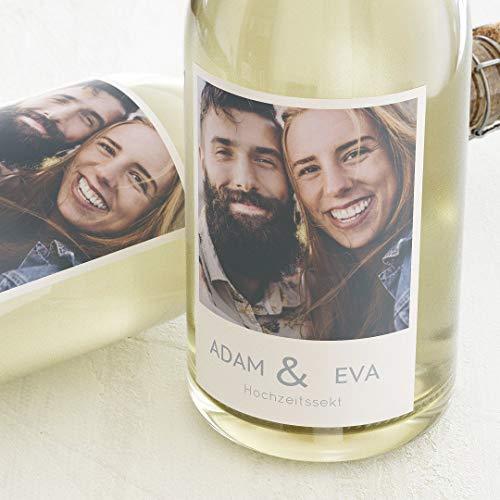 sendmoments Flaschenetikett, Unser schönster Tag, Aufkleber, Sektetiketten, selbstklebend, personalisiert mit Text & Foto zur Hochzeit, Label für Flaschen, als Geschenk, Hochformat, ab 10 Stück