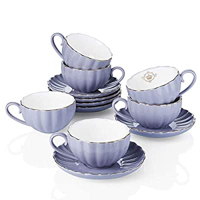 Amazingware Royal Tea Cups and Saucers, with Gold Trim and Gift Box, British Coffee Cups, Porcelain Tea Set, Set of 6 (8 oz)- Purple
