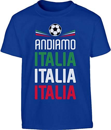 Shirtgeil Andiamo Italia Calcio Squadra Azzurra Maglietta per Bambini e Ragazzi 11-12 Anni Blu