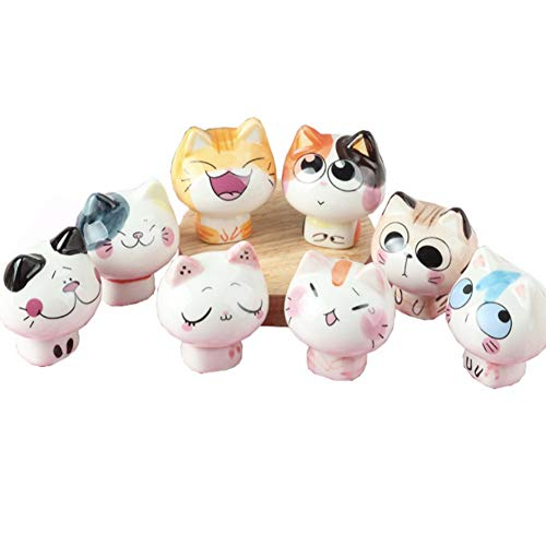 CheeseandU 8Pcs Cute Cartoon Fortune Cat Figurines Ceramic Lovely Cat Crafts Collectible Figurines Home Garden Office Car Boutique Decoration Kids Friends Bday Cat Lover Ideal Gift