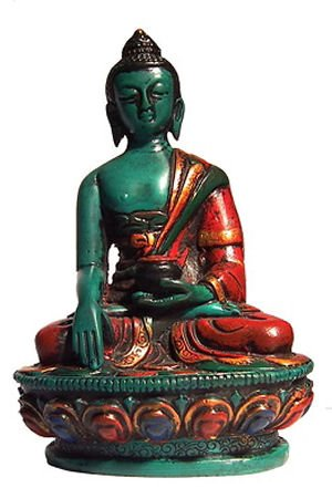 mytibetshop 4' Buddha Statue, Earth Touching Buddha Hand Painted
