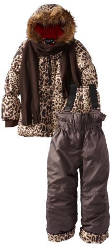 Rothschild Little Girls' Perfect Print Snowsuit, Cocoa, 5/6 Medium