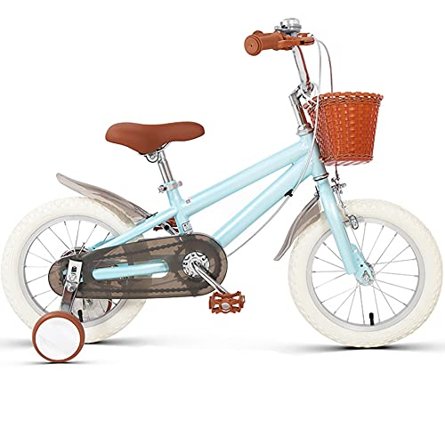 YGTMV 14 Inch New Kids' Bike,with Antiskid Adjustable Height Bikes,with Auxiliary Wheel for 3-6 Balance Bike Bicycle Children,Blue,14 Inch