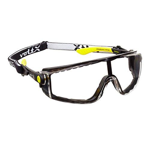 voltX 'QUAD' 4 in 1 - Occhiali di sicurezza - TRASPARENTI - con inserto in gommapiuma e fascia rimovibile - certificazione CE EN166F
