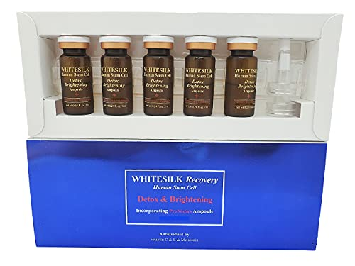 WHITESILK by Anterogenpartners Human Stem Cell(100,000ppm) Detox and Brightening Melatonin (60,000ppm) Ampule (10ml x 5vials, 1.69oz)