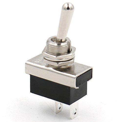 Heschen Interruptor de palanca de metal Flick Flip 12V 25A ON/OFF 2 Positon 2 Pines para luz de salpicadero del coche