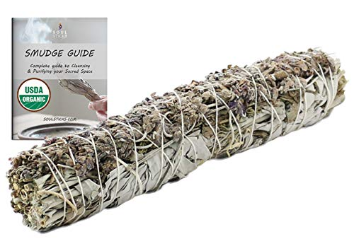 9 Inch White Sage and Lavender Smudge Stick for Home Cleansing & Negative Energy Clearing | Organic White Sage & Lavender Smudging Wand | Includes Smudge Guide (White Sage & Lavender)