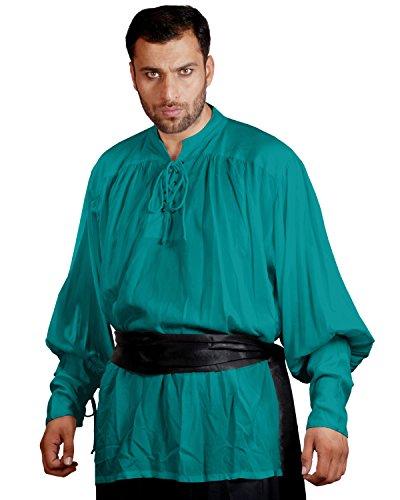 ThePirateDressing Medieval Poet's Pirate John Coxon Cosplay Costume Shirt C1004 (Green) (S/M)