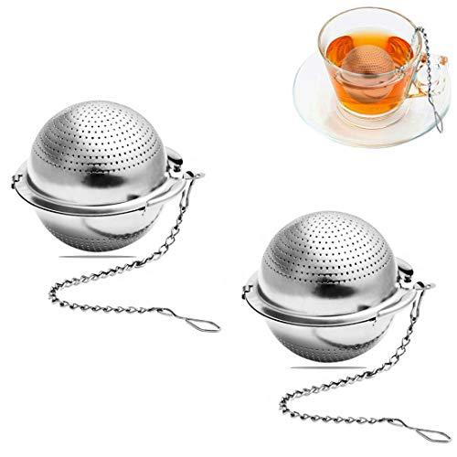 MELARQT Teesieb, Teefilter mit Verlängertem Kettenhaken Edelstahl Tee Sieb, 2 Stück 5 cm Balls Teefilter für losen Tee und Mulling Gewürze, für die Meisten Tee-Tassen, Tee-Schalen und Kanne