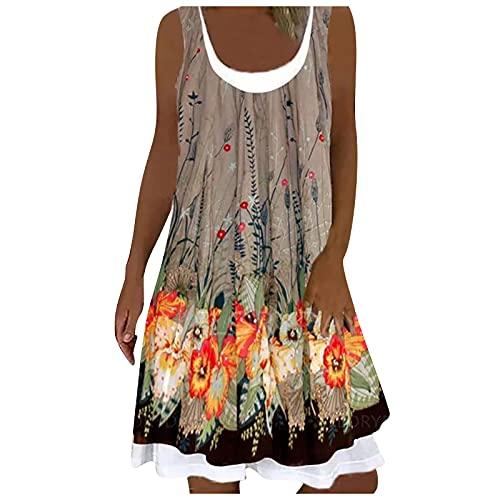 Liably Vestido de verano para mujer de imitación con cuello redondo, estampado, sin mangas, holgado, para la playa, elegante, largo hasta la rodilla, para fiestas, blusas, caqui, S