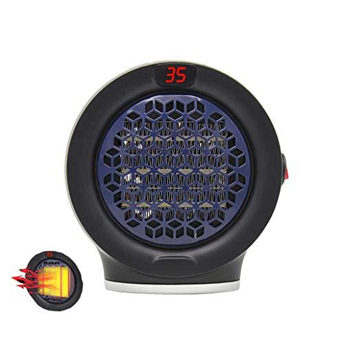KHFE Mini Ventilador Caliente Calefactor Ventilador, Ventilador del Calentador Eléctrico del Escritorio De Oficina En Casa, Mini Calentador Habitación Portátil Redondo Pequeño, Negro