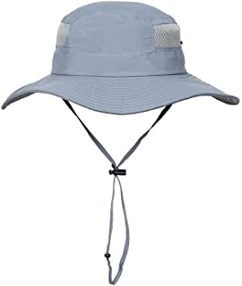 YOKST Outdoors Foldable UV Protection Bucket Hat UPF 50+ Quick Drying Breathable Fishing Hats Adjustable Chin Strap Sun Hats Casual Wild Fisherman's Hat For Camping (Color : Light blue)