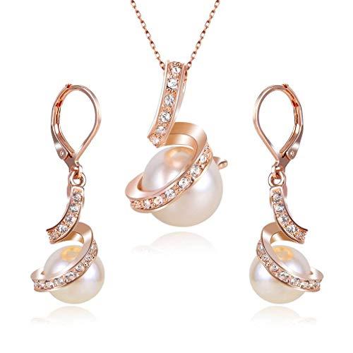 Clearine Perle Schmuck Set Elegant CZ Cream Künstliche Perlen Spiral Filigran Pendant Halskette und Dangle Ohrringe für Damen Hochzeit Party Täglicher Outfit