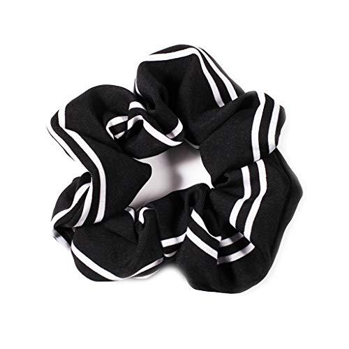 JERKKY Femmes Filles Style Coréen Élastique Ruban Bande Boho Simple Double Rayures Imprimé Titulaire De Queue De Cheval Couleur Bloc Gros Intestin Cheveux Corde Chouchous 1#