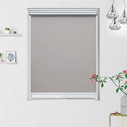 Cordless Blackout Roller Blinds and Shades with Spring System, Thermal and Room Darkening for Window Indoor Use, 48 x 72 inch, Grey