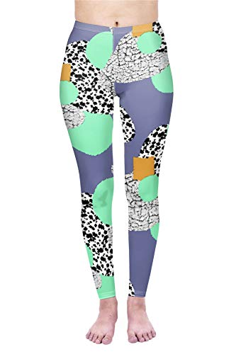 Kukubird Printed Patchwork Patterns Women's Yoga Leggings Gym Fitness Running Tights Size 6-10 Stretchable