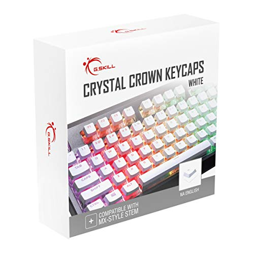 G.SKILL Crystal Crown Keycaps - Keycap Set with Transparent Layer for Mechanical Keyboards, Full 104 Key, Standard ANSI 104 English (US) Layout - White