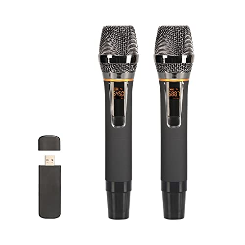 zlw-shop Inalámbrico USB Micrófono Condensador de Mano Karaoke micrófono de Metal micrófono inalámbrico con USB Receptor para el Habla de la reunión (Color : Black)
