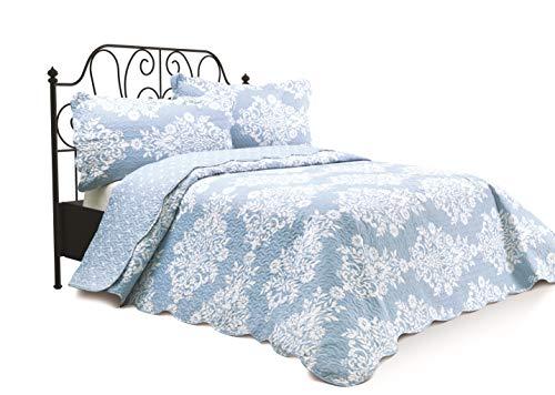 Chiara Rose 3 Piece Reversible Quilt Set Bedspread Coverlet Lightweight Comforter Full Queen FLRL