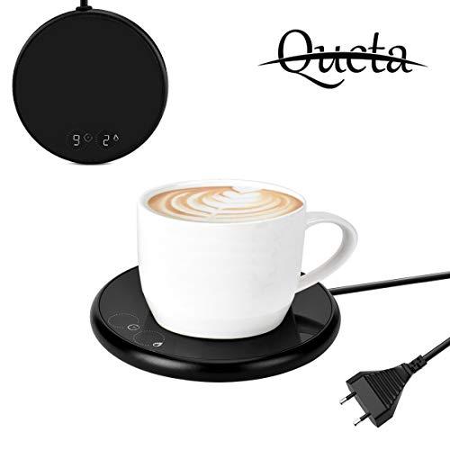 Queta Tassenwärmer Getränkewärmer, Kaffee Becher Cup Warmers mit Elektrischer Heizplatte Automatischer Schwerkraft-Sensor-Schalter Tee Milch Kaffee Wärmer für Büro, Zuhause (EU Plug)