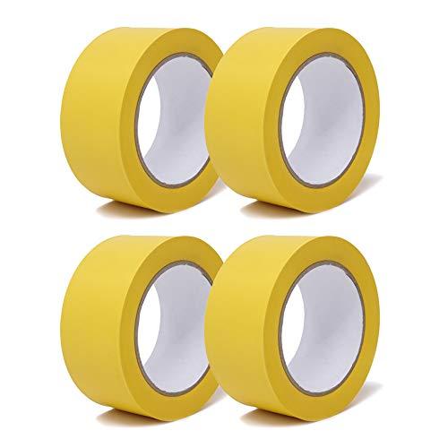 gws Putzband PVC gerippt Abklebeband von Hand reißbar | Maler-Schutzband in Profi-Qualität | versch. Farben & Breiten | Länge: 33 m (4 Rollen - 50 mm breit - gelb gerippt)