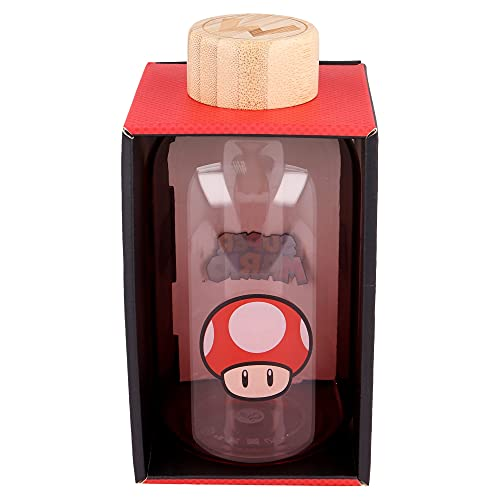 Super Mario - Nintendo | Botella De Agua De Cristal De Borosilicato Reutilizable - 620 ml - Botella De Agua De Vidrio con Tapón Hermético