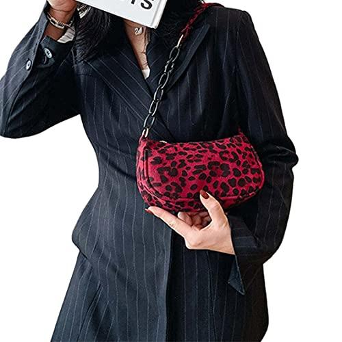 DDyna Bolso de Hombro Retro con Estampado de Leopardo Bolso de Hombro de Ocio con Cadena para Mujer Bolso de Hombro de Moda para Mujer