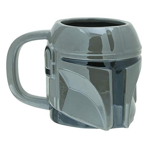 Mandalorian - Taza - Mando - 3D XXL - Casco de café - Gris - Cerámica - Caja de regalo