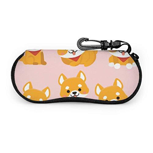 AEMAPE Shiba Loyalty Dog Friend Estuche para gafas de seguridad Estuches para anteojos Estuche ligero portátil de neopreno con cremallera Estuche blando para gafas para niñas