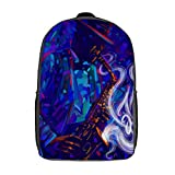 Travel Laptop Backpack,Jazz Saxophone Player in The Hat Jazz Musician Saxophonist Abstract Grunge Style with Bright Spots,Large Business Water Resistant Anti Theft Computer Daypack Slim Durable