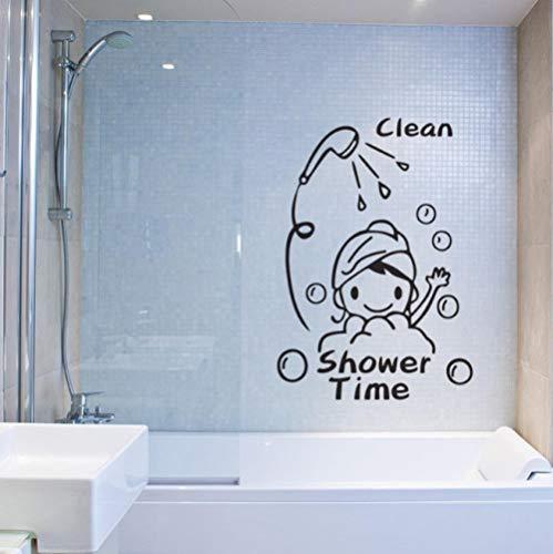 Schone douche tijd schattig meisje kind badkamer glazen deur muur sticker huis decoratie sticker 28,5X41 cm